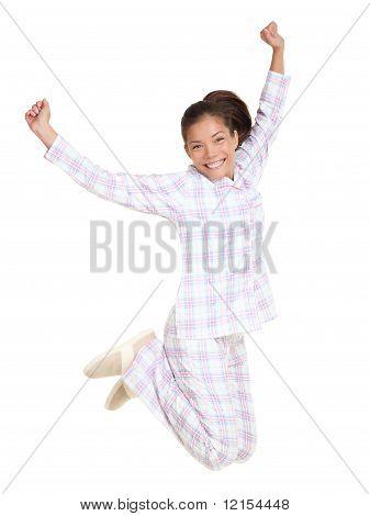 Woman Jumping Morning Fresh In Pajamas