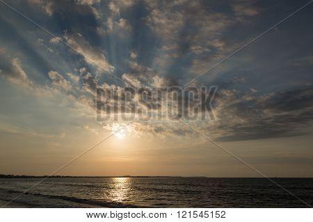Dramatic Sunset On The Ocean Coast.