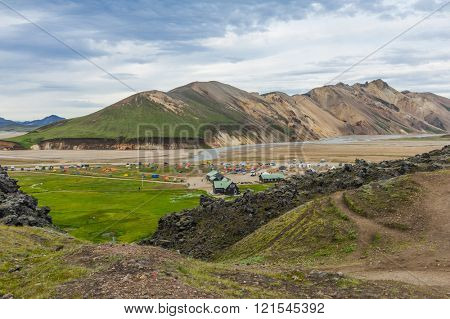 Camp with tents at Landmannalaugar, Iceland