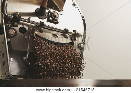 Many Beans Freshly Roasted Fall Inside Cooling Machine