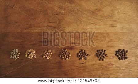 Preparing fresh roast coffee beans to brew with top view of seven different grades of roasting beans