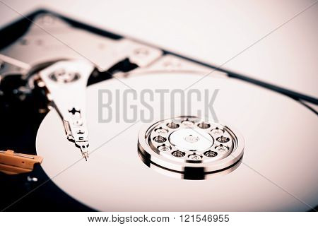 Inside Hard disk drive HDD isolated on white background