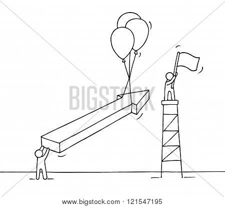 Sketch of working little people with arrow air balloons flag. Doodle cute miniature flying arrow and preparing for the big profit. Hand drawn cartoon vector illustration for business design and infographic.