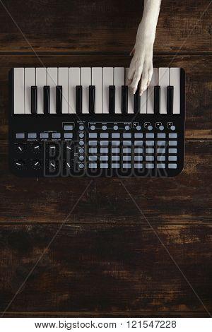 Top View Dog Paw On Midi Piano Mixer