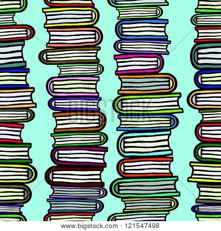 Vector seamless pattern with stacks of colorful books on blue background