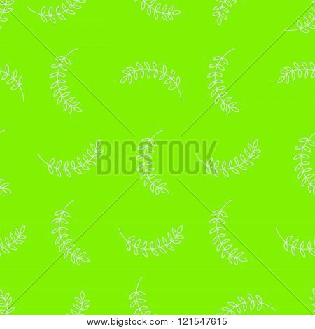Seamless pattern with branches and leaves on chartreuse background vector illustration for postcards textile etc.