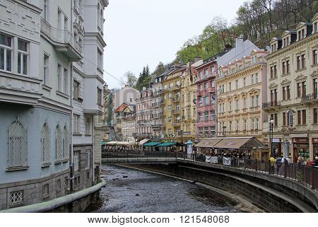 Karlovy Vary, Czech Republic - April 27, 2013: Buildings In Karlovy Vary Or Carlsbad That Is A Spa T