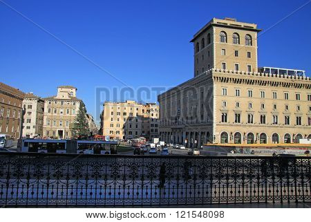Rome, Italy - December 21, 2012:  View Of Piazza Venezia, Rome, Italy