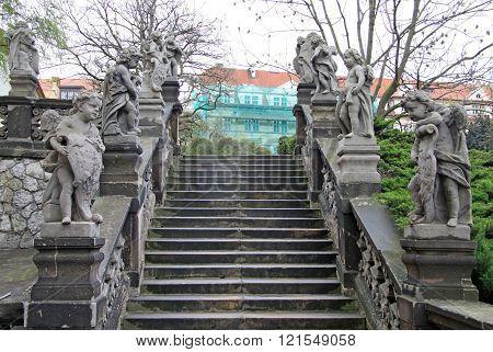 Prague, Czech Republic - April 29, 2013: Angel Statues At The Birth Of Christ Church Of Loreto In Pr