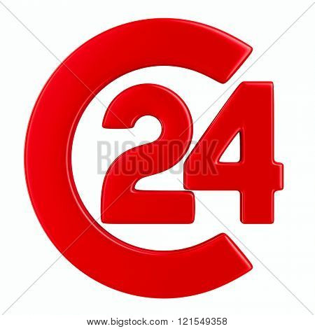 Symbol 24 hours on white background. Isolated 3D image