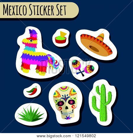 Mexico bright sticker set with national Mexican objects: sombrero, skull, agave, cactus, pinata, jalapeno peppers, maracas, guacamole and nacho chips isolated, vector illustration