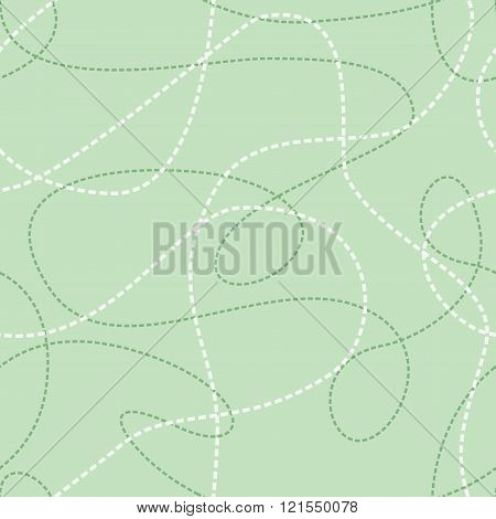 Tangled lines seamless pattern. Dashed lines texture. Repeating abstract background with dashed tangled lines. Vector seamless pattern. Repeating abstract background with tangled line of dashes. EPS8 vector illustration includes Pattern Swatch.