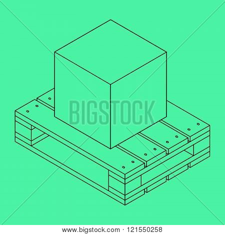 Closed carton delivery packaging box on wooden pallet, isolated on blue background, vector illustration
