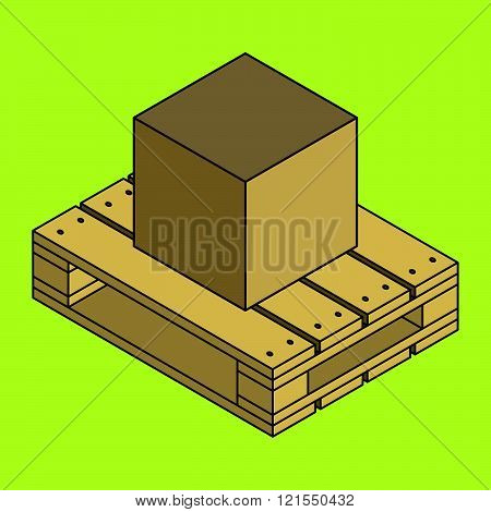 Closed carton delivery packaging box on wooden pallet, isolated on chartreuse background, vector illustration