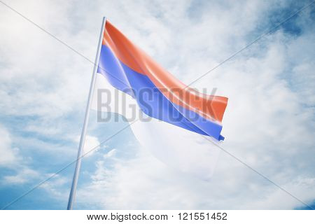Serbian Flag On Sky Background