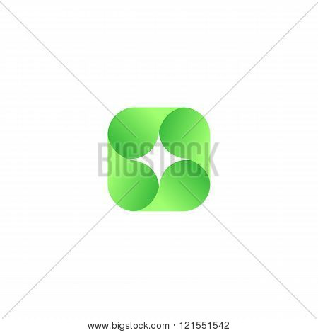 Abstract vector red isolated logo. Icon design shape spiral sign. Green color star. Square, geometric shape.