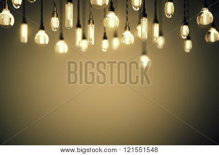 Idea Concept Bulbs Brown Background