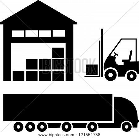 Vector black logistic shipping and storage icon set / warehouse forklift and truck isolated on white background