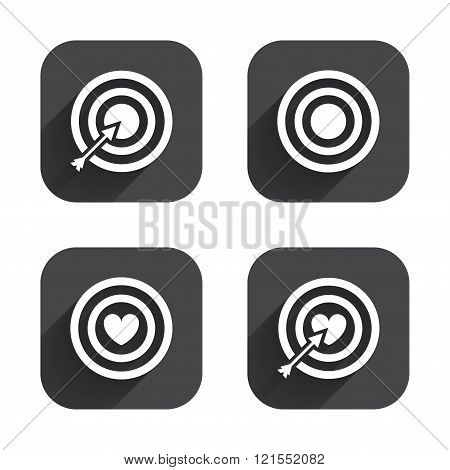 Target aim icons. Darts board signs symbols.