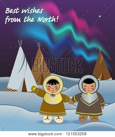 Kids in the North, Northern Lights, greeting card, Vector illustration.