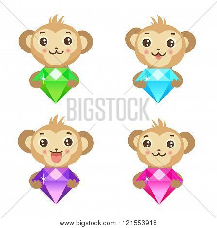 Monkeys and diamond. Vector illustration. Graphic elements.