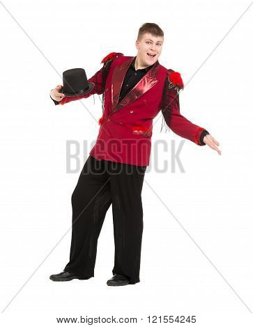 Emotional Entertainer In Red Suit And Silk Hat