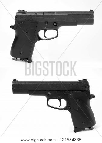 Black pneumatic pistol on a white background.