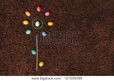Eggs Lying On The Carpet. Abstract Flower.flat Lay. Easter Aggs.