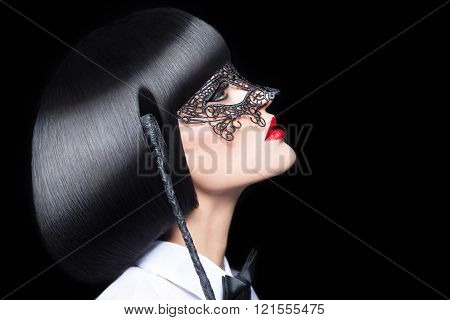 Sexy Woman With Red Lips Mask And Whip Bdsm