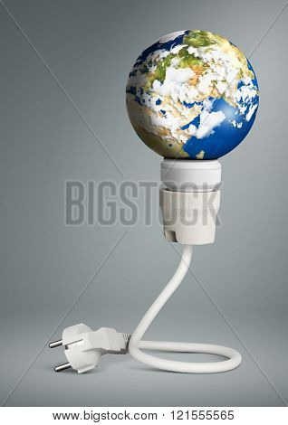 Clean Energy Concept, Light Bulb With Planet Earth And Plug