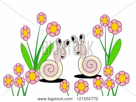 Two snails smiling to each other, between lots of pink flowers.