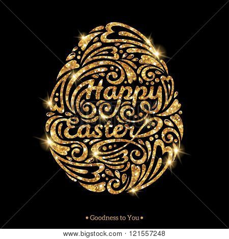 Easter egg in doodle style, gold shining shape