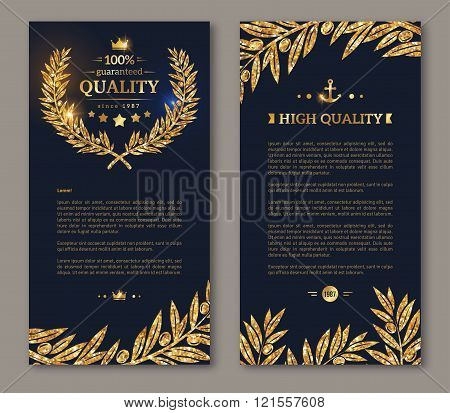 Flyer template laurel wreath and gold confetti
