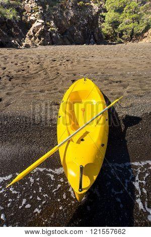 Traveling by kayak.