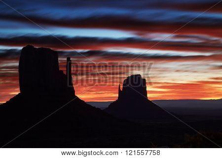 Monument valley at sunrise, Arizona, USA