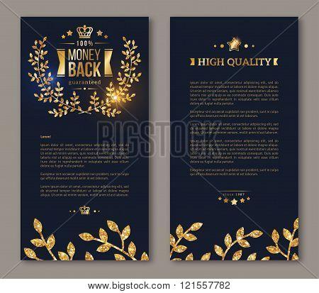 Flyer layout template with golden laurel wreath