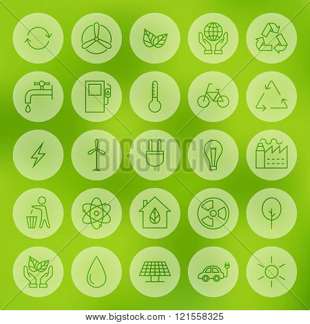 Line Circle Web Ecology Energy Power Icons Set