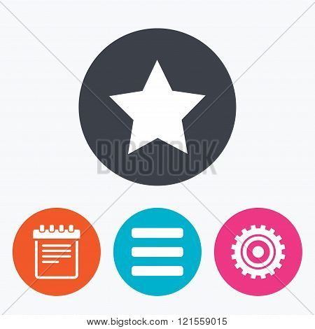 Star and menu list signs. Notepad, gear.