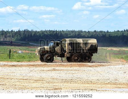 MOSCOW REGION  - JUNE 18:New military all terrain truck for the transportation of personnel on a march over rough terrain   -  on June 18, 2015 in Moscow region