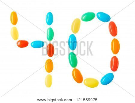 40 Number Made Of Multicolored Candies Isolated On White