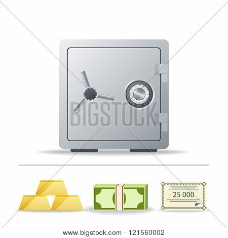 realistic image bank vault, gold ingots, wads of cash and bonds