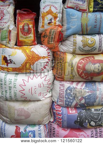 Rice sacks in African market