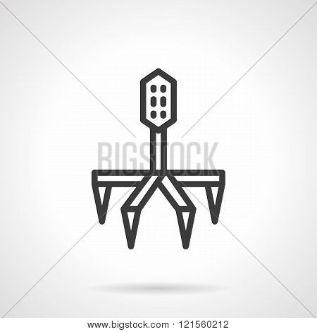 Line bacteriophage black line design vector icon