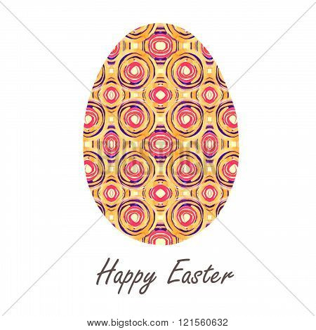 Colorful Single Easter Egg With Beautiful  Color Abstract Pattern. Isolated On White Background - Gr