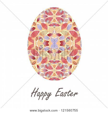 Colorful Single Easter Egg With Beautiful  Color Abstract Pattern. Isolated On White Background