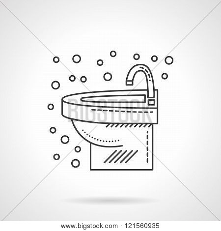 Wash basin with faucet flat line vector icon