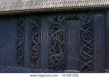 Wood Carving In The Old Church Of Urnes