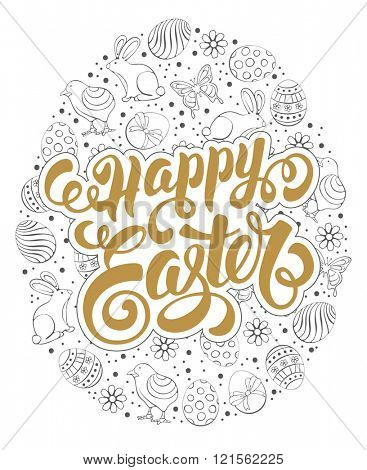 Happy Easter Calligraphic Lettering on Ornate Egg. Hand Drawn Doodle style. Isolated on White Background. Design Element for Easter Greeting Card. Vector illustration.