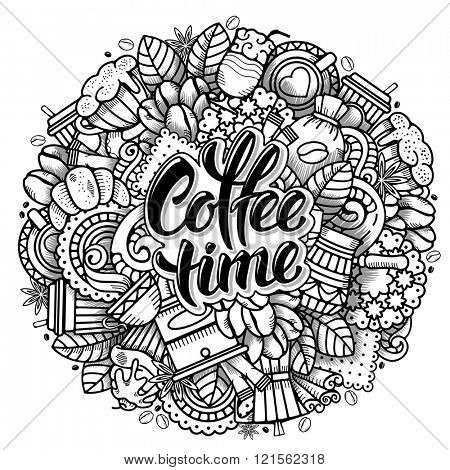 Coffee Round Design in Outline Hand Drawn Doodle Style with Objects on Coffee Theme. All elements are separated and editable. Calligraphic Lettering Coffee Time. Vector Illustration. Isolated.