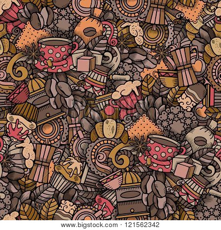 Coffee Seamless Pattern in Outline Hand Drawn Doodle Style with Different Objects on Coffee Theme. All elements are separated and editable.  Vector Illustration.